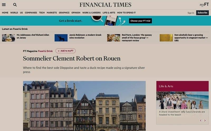 Le Financial Times parle des Caves Pierre Noble !